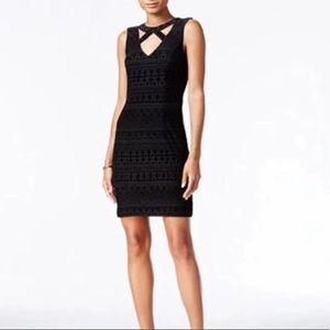 Guess Geo Cut-Out Velvet Flocked Mini Dress Size 0